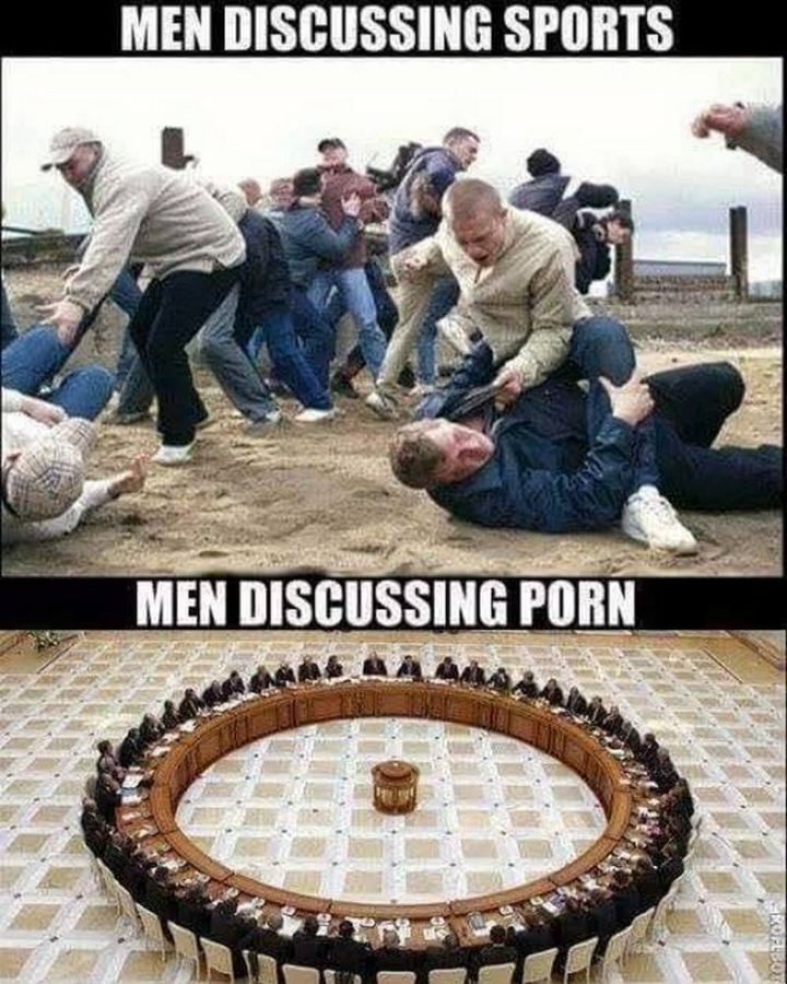 "79 Sex Memes - ""Me discussing sports VS men discussing [censored]."""