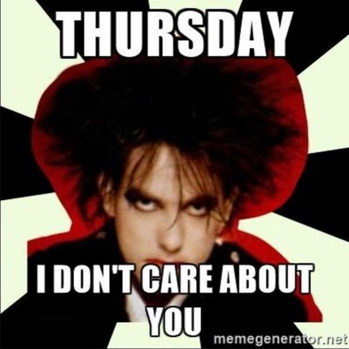 "101 Thursday Memes - ""Thursday, I don't care about you."""