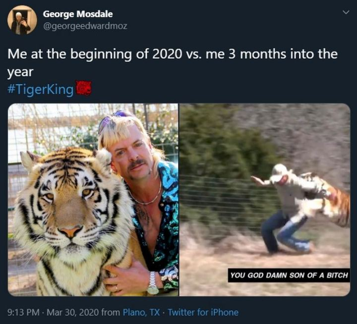 """53 Coronavirus Memes - """"Me at the beginning of 2020 vs. me 3 months into the year. You god damn son of a [censored]."""""""
