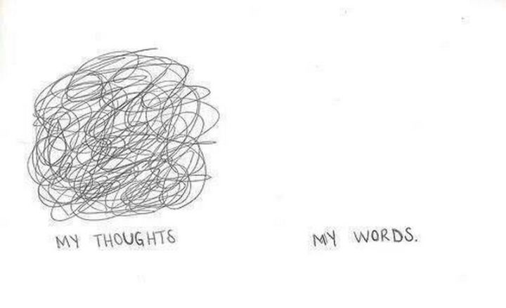 "75 Introvert Memes - ""My thoughts vs My words."""