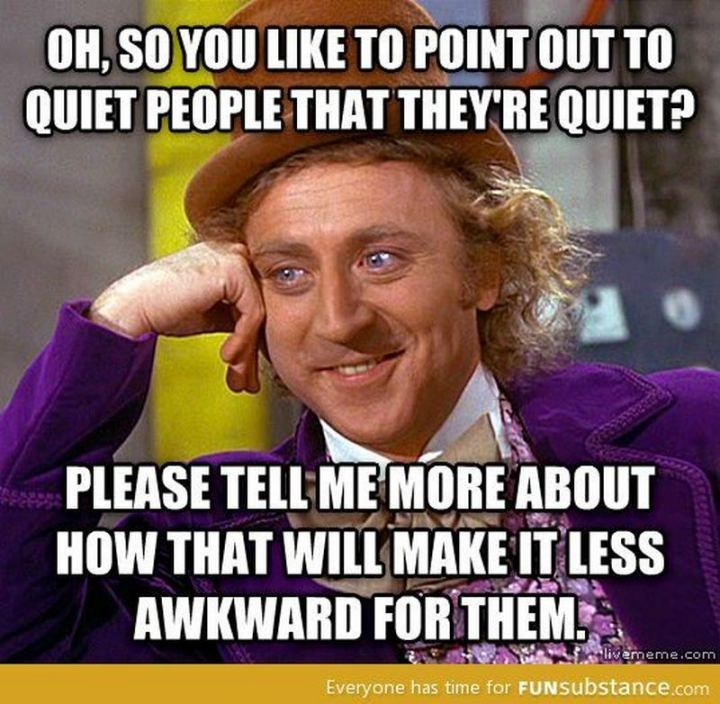 "75 Introvert Memes - ""Oh, so you like to point out to quiet people that they're quiet? Please tell me more about how that will make it less awkward for them."""