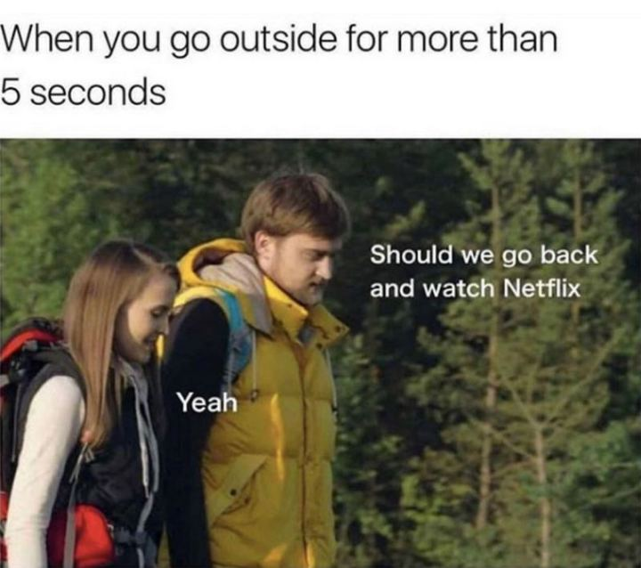 "75 Introvert Memes - ""When you go outside for more than 5 seconds: Should we go back and watch Netflix. Yeah."""