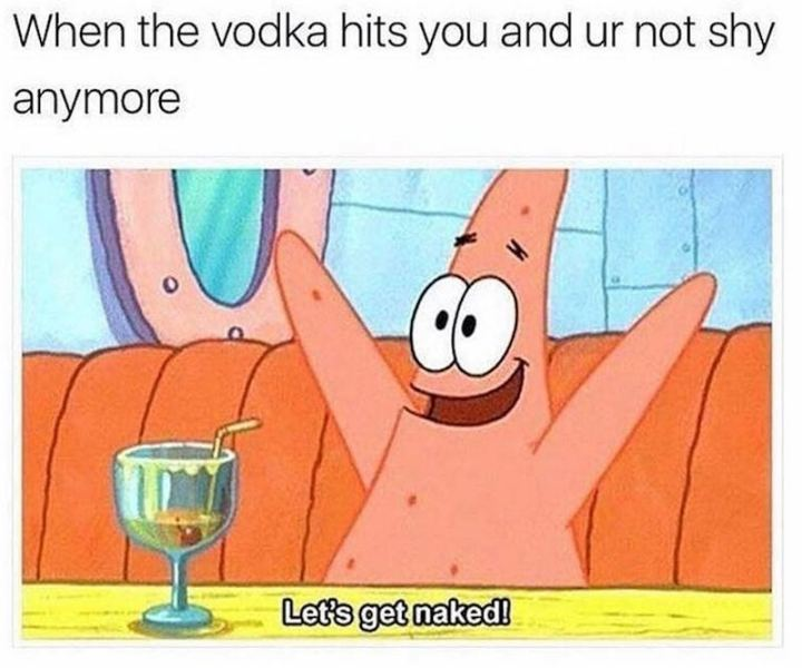"75 Introvert Memes - ""When the vodka hits you and ur not shy anymore: Let's get naked!"""