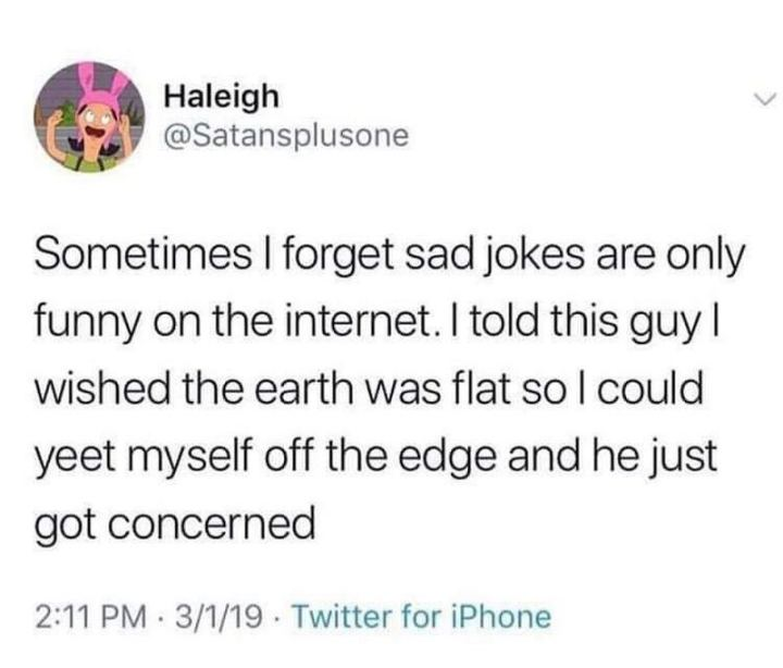 "53 Sad Memes - ""Sometimes I forget sad jokes are only funny on the internet. I told this guy I wished the earth was flat so I could yeet myself off the edge and he just got concerned."""