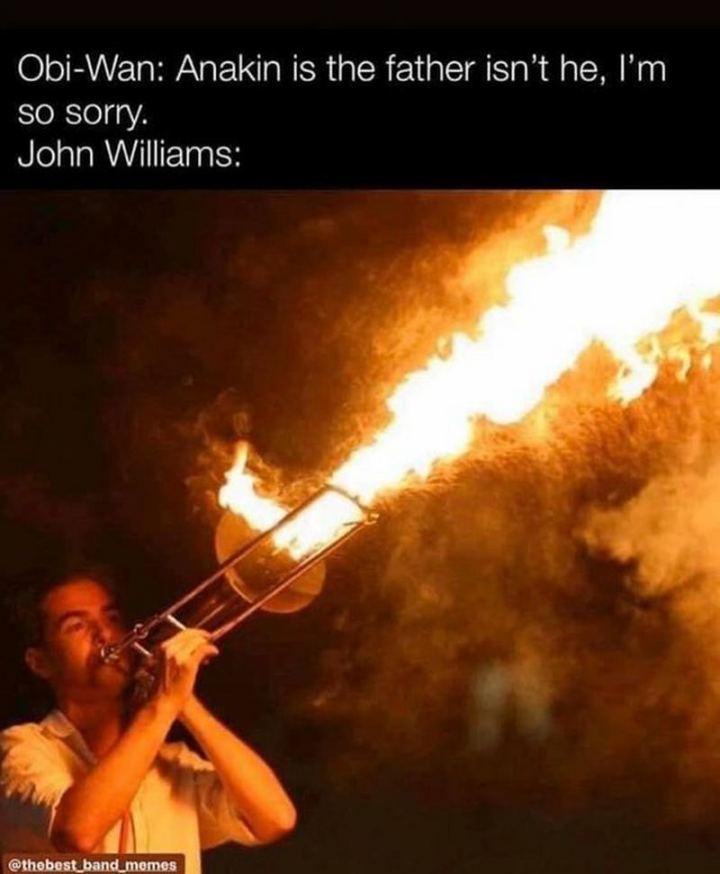 "61 Star Wars Memes - ""Obi-Wan: Anakin is the father isn't he, I'm so sorry. John Williams:"""