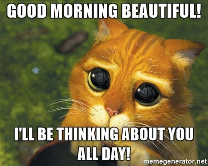 "77 ""Thinking of You"" Memes - ""Good morning beautiful! I'll be thinking about you all day!"""