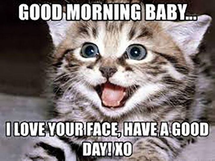 "101 ""Have a Great Day"" Memes - ""Good morning baby...I love your face, have a good day! XO."""