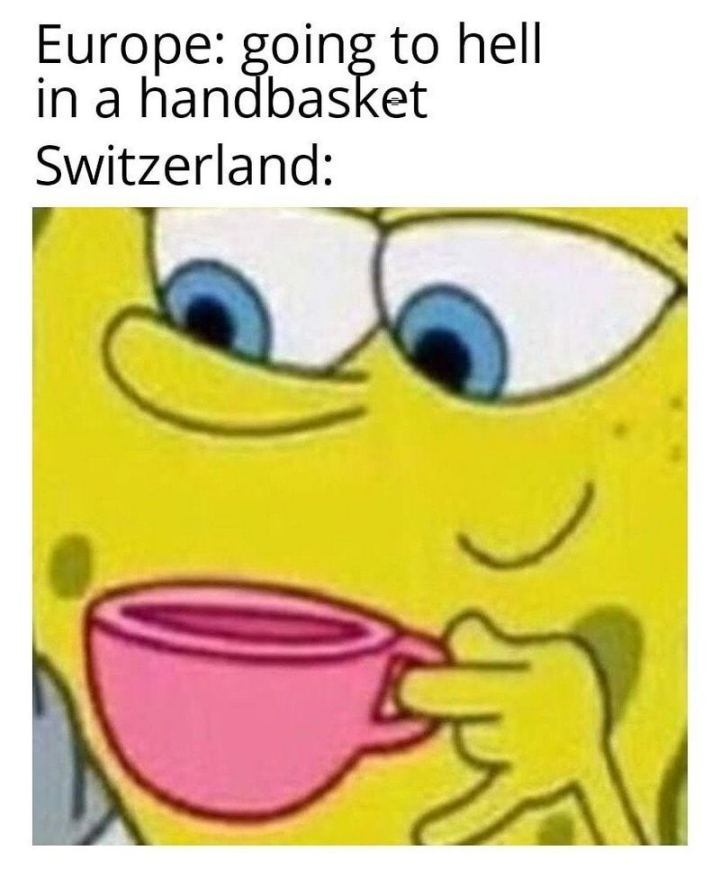 "55 Funny History Memes - ""Europe: Going to hell in a handbasket. Switzerland:"""