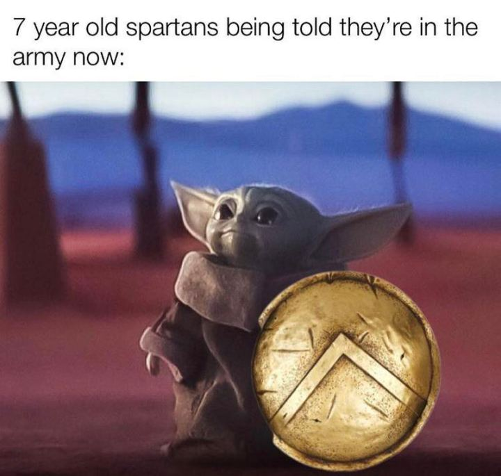 "55 Funny History Memes - ""7-year-old Spartans being told they're in the army now:"""