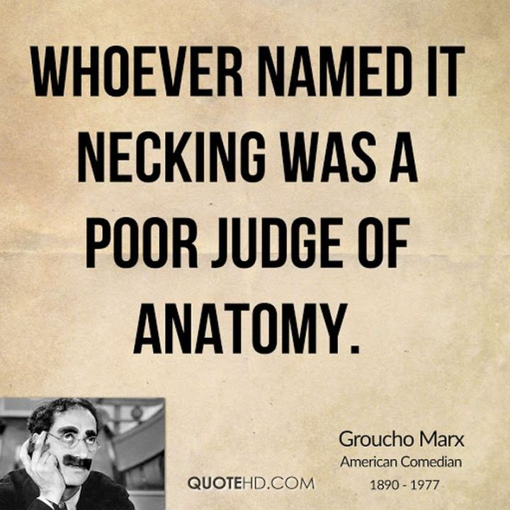 """Whoever named it necking was a poor judge of anatomy."" - Groucho Marx"