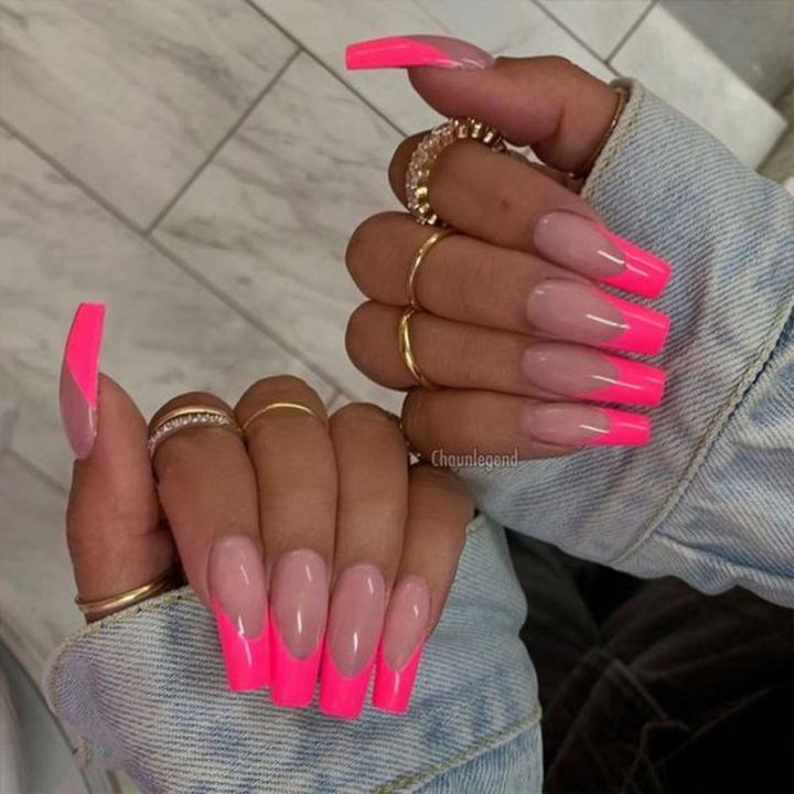 Pink manicure with luscious tips.