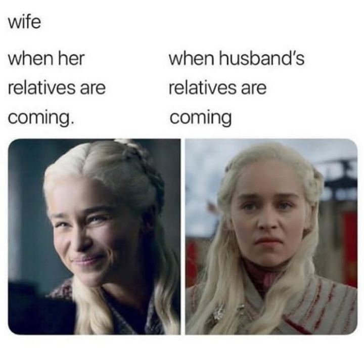 """Wife when her relatives are coming VS When husband's relatives are coming."""