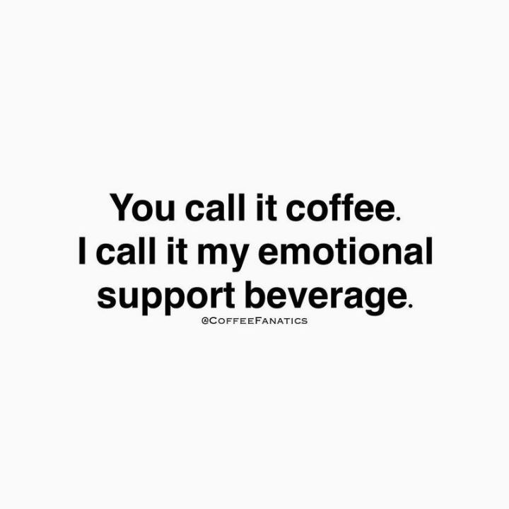 """You call it coffee. I call it my emotional support beverage."""