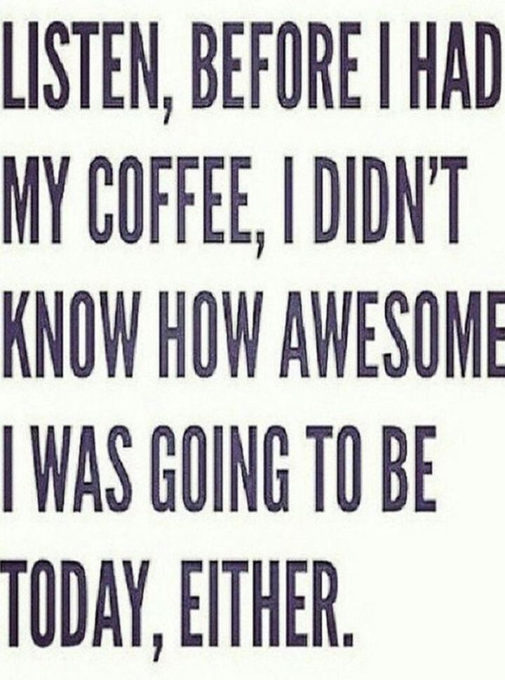 """Listen, before I had my coffee, I didn't know how awesome I was going to be today, either."""