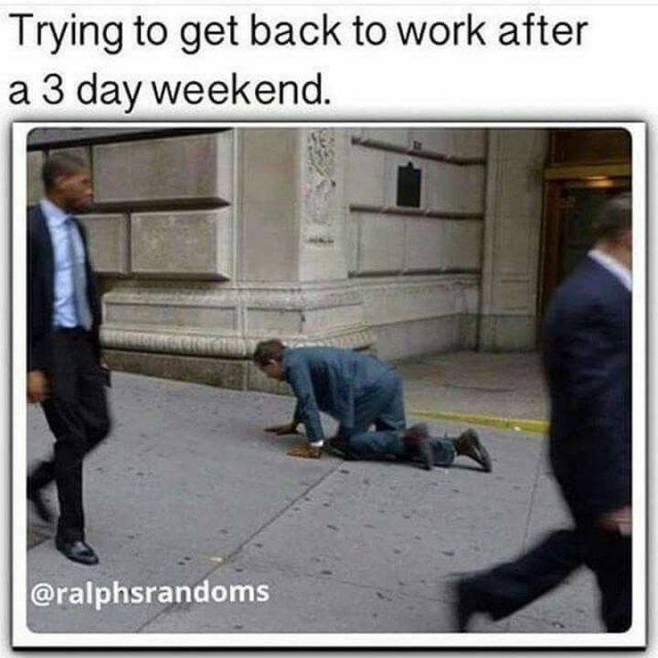 """Trying to get back to work after a 3 day weekend."""