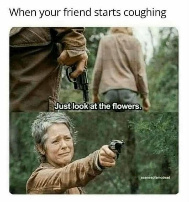 "67 Hypochondriac Memes - ""When your friend starts coughing: Just look at the flowers."""