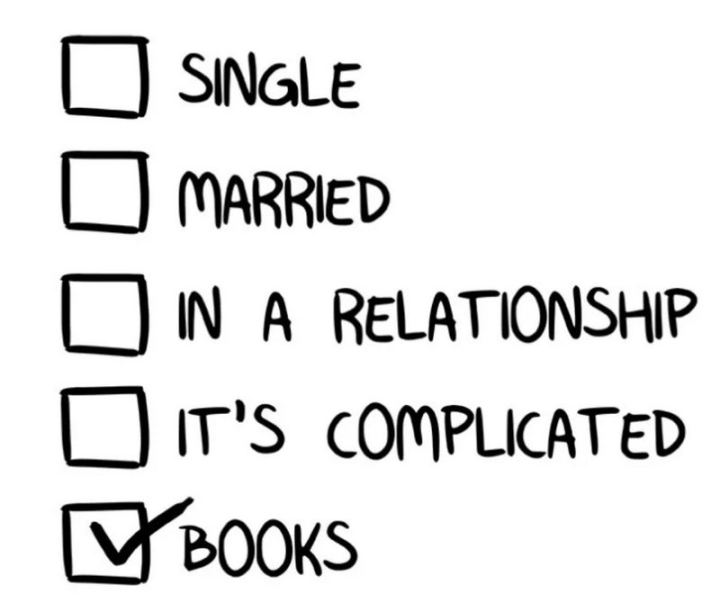 """""""Single. Married. In a relationship. It's complicated. Books."""""""