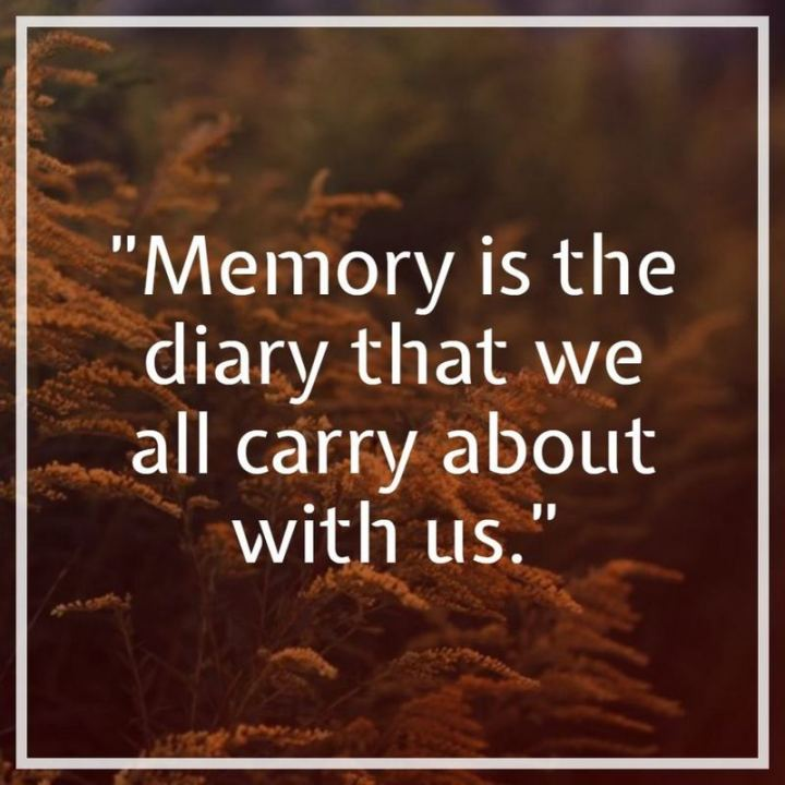 """Memory is the diary that we all carry about with us."""