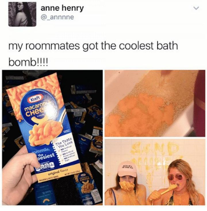 """My roommates got the coolest bath bomb!!!!"""