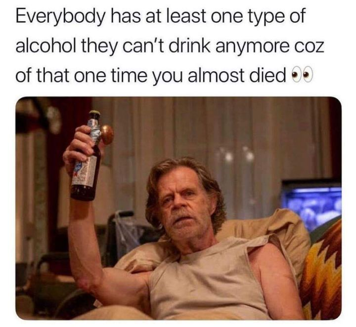 "71 Adult Memes - ""Everybody has at least one type of alcohol they can't drink anymore coz of that one time you almost died."""