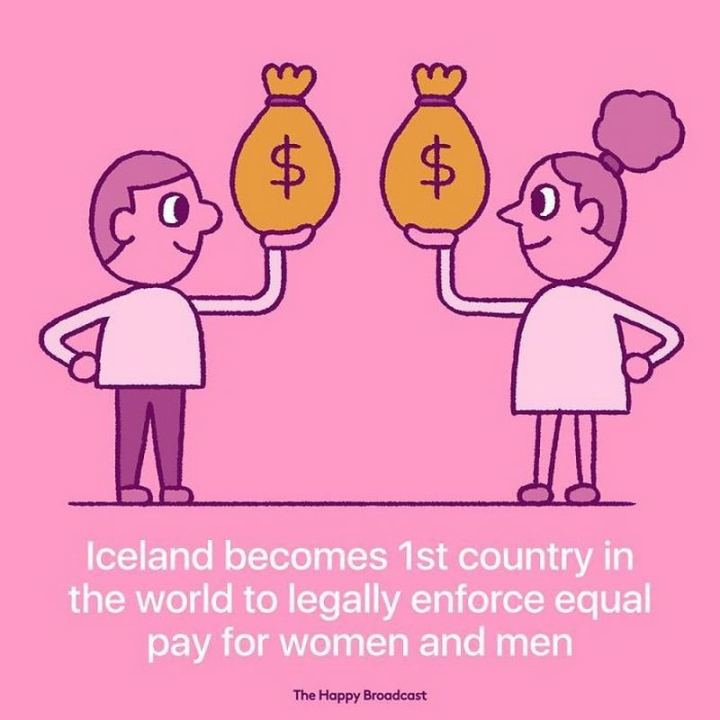 """Iceland becomes 1st country in the world to legally enforce equal pay for women and men."""