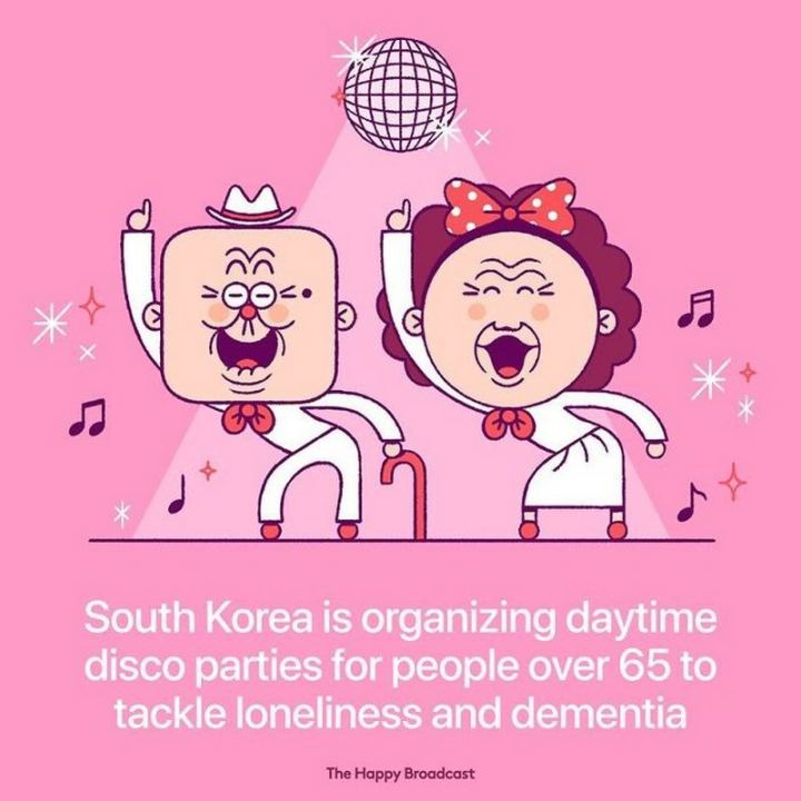 """South Korea is organizing daytime disco parties for people over 65 to tackle loneliness and dementia."""