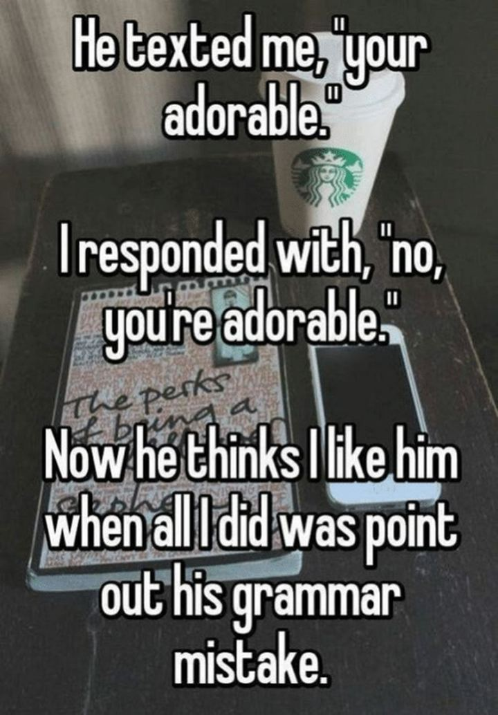 """""""He texted me, 'your adorable'. I responded with, 'no, you're adorable'. Now he thinks I like him when all I did was point out his grammar mistake."""""""