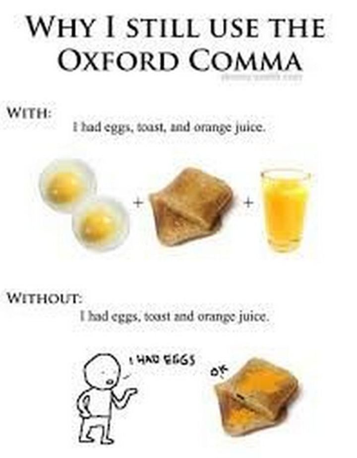 """""""Why I still use the Oxford Comma. With: I had eggs, toast, and orange juice. Without: I had eggs, toast and orange juice."""""""