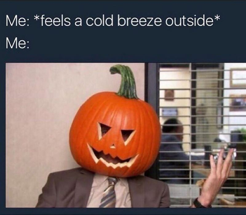 """""""Me: *feels a cold breeze outside* Also me:"""""""