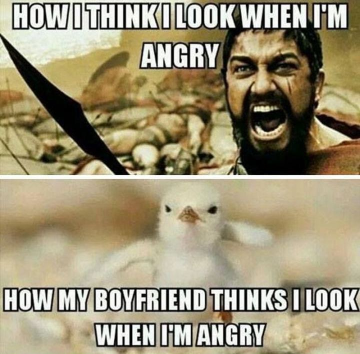 """How I think I look when I'm angry. How my boyfriend thinks I look when I'm angry."""