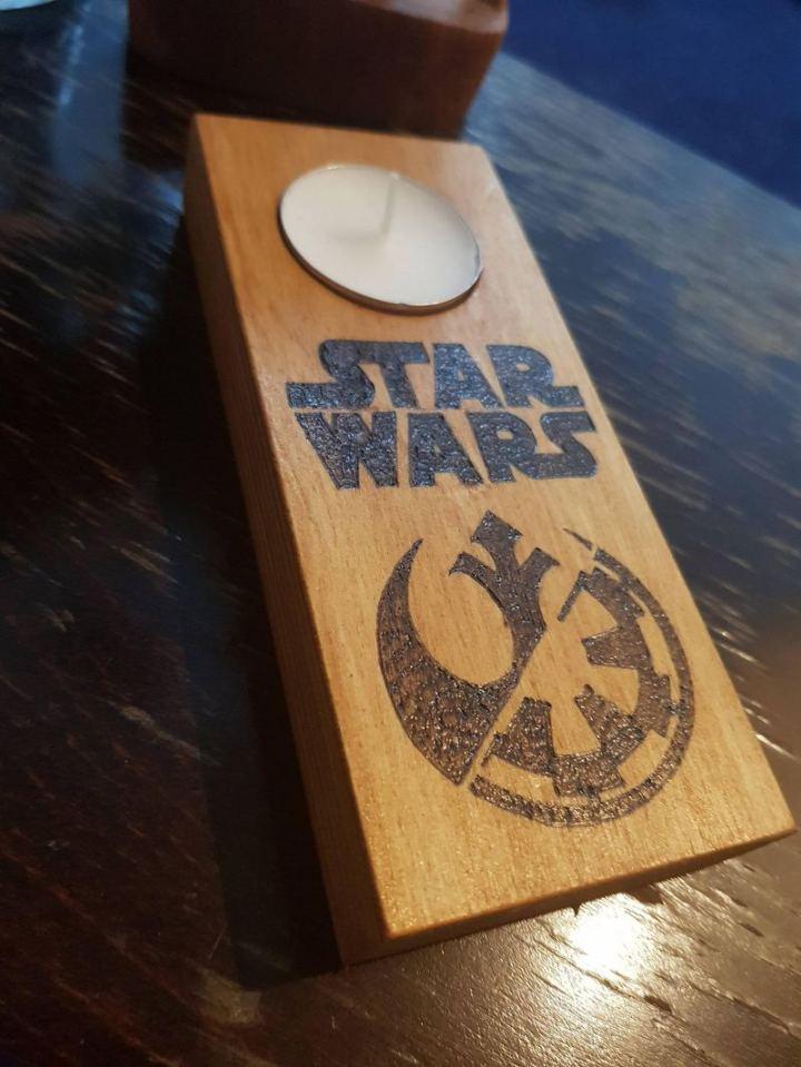 Handmade Woodburned Star Wars Tealight Holder.