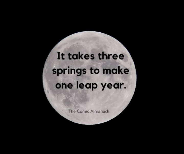 """""""It takes three springs to make one leap year."""" - The Comic Almanack"""