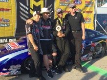 Greg Anderson and Jason Line with team owner Ken Black and Summit Racing's Jim Greenleaf