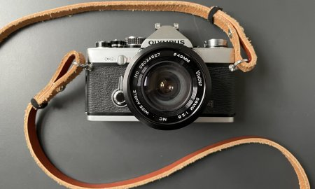 DSLR with two straps