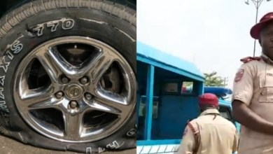Photo of FRSC officials allegedly puncture tyre of a car driven by a lady rushing a pregnant woman in labour to the hospital (video)