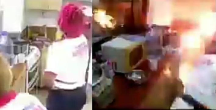 Gas explodes at Big Brother's kitchen in Cameroon (Watch Video). In the video shared, two female housemates could be seen in the kitchen tidying up some things