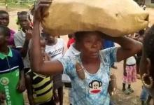 Photo of Lady paraded for stealing cassava in a farm in Abia state (Photos)
