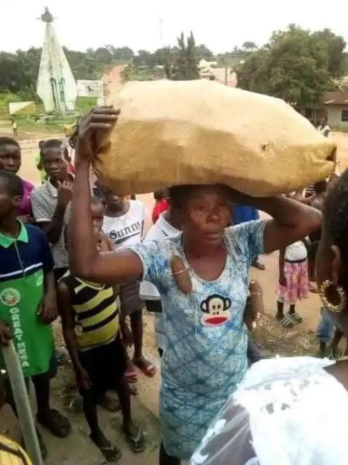 Lady paraded for stealing cassava in a farm in Abia state (Photos).  A lady who was allegedly caught stealing cassava from a farm in Nkwedi village of Ohafia