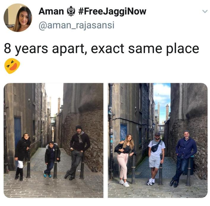 Family recreates throwback photo of 8 years ago at the same location.   Aman shared two photos of herself, her father and her brother. The first photo was taken eight years ago