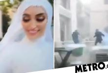 Photo of Video captures the terrifying moment a bride posing for photographs on her wedding day is rocked by the massive explosion in Beirut