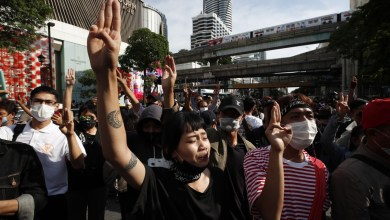 Photo of Thai protesters gather in Bangkok defying state of emergency.