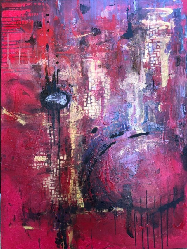 Red. mixed media on canvas Yvonne Krystman
