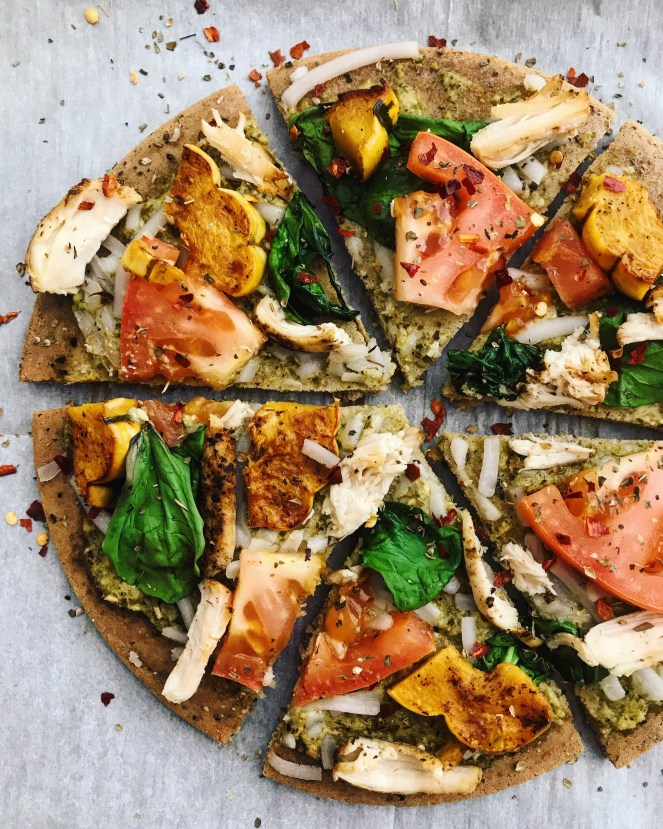 Delicata Squash Chicken Pesto Pizza