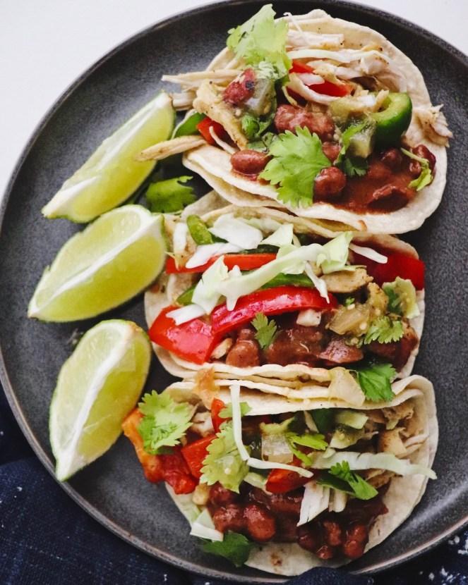 Shredded Cumin Chicken and Bean Tacos