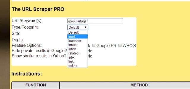 URL Scraper PRO Footprint 2