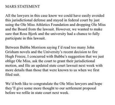 Mars statement