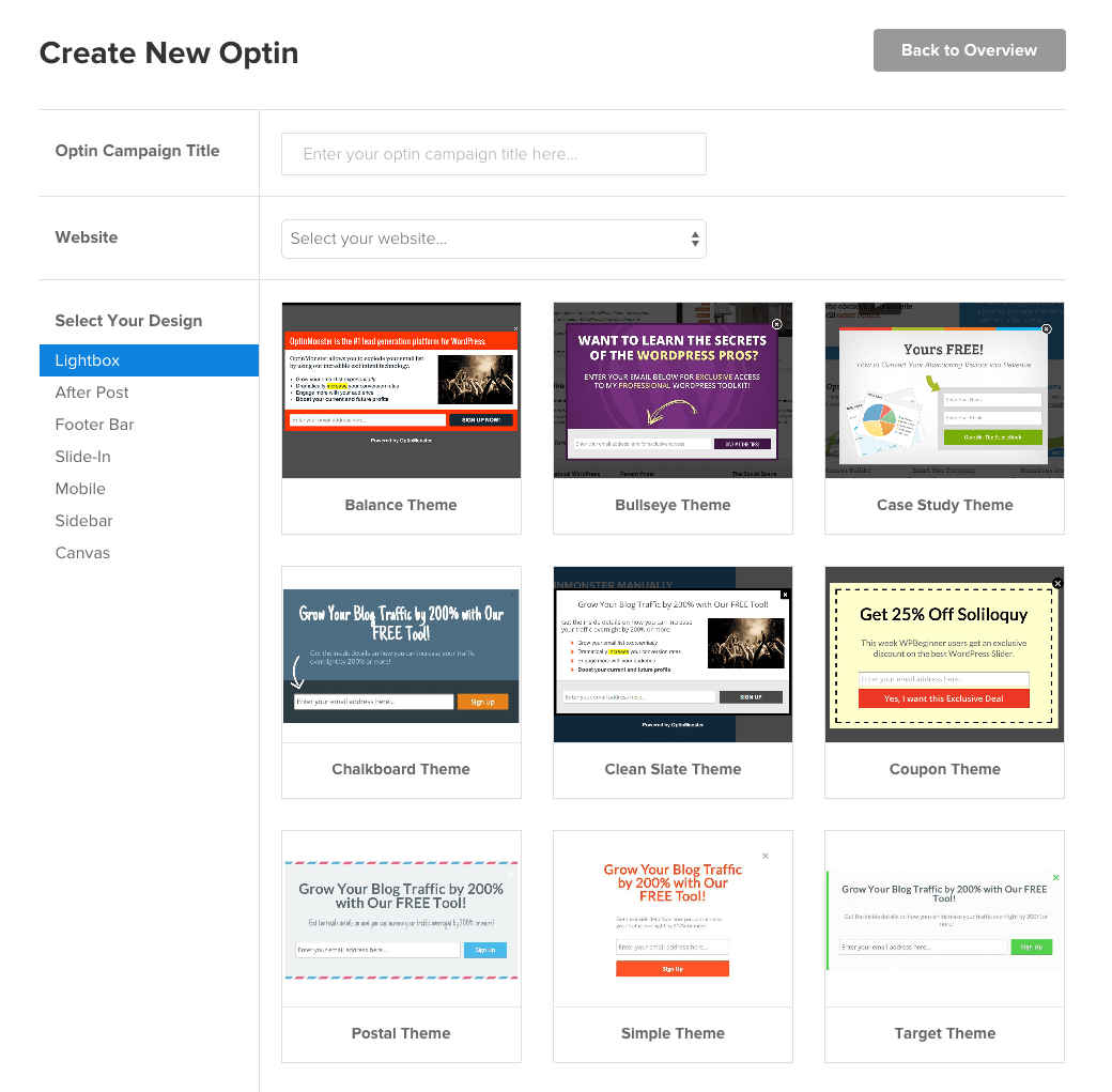 screenshot depicting how to create new optin in OptinMonster