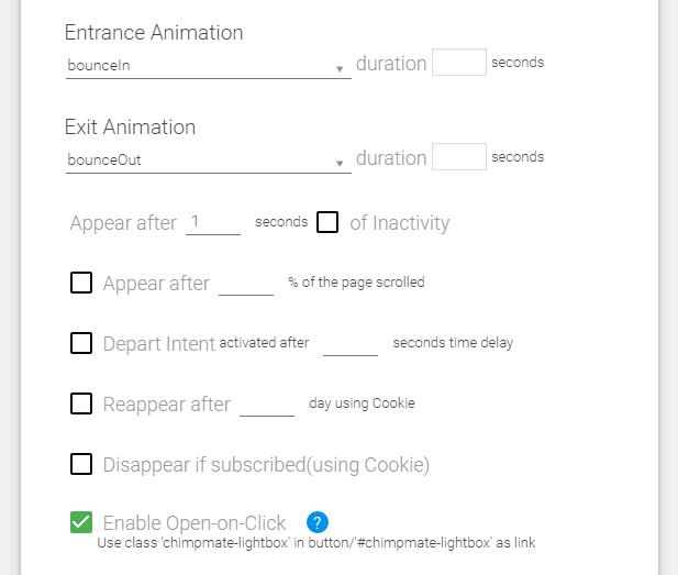 screenshot showing popup trigger behavior settings in chimpmate pro WordPress plugin