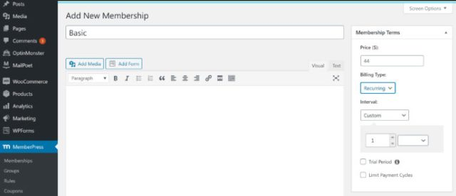 MemberPress review: Membership creation 2