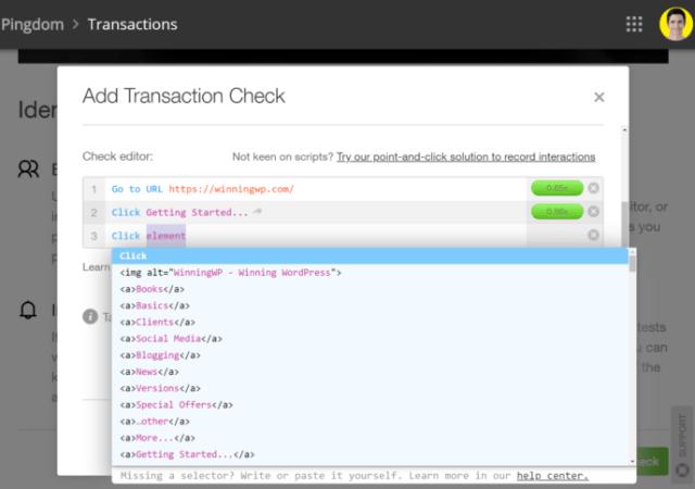 Pingdom Transaction Monitoring